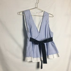 9fe9fb4ae24 Zara Tops - Zara Blue Pinstriped Sleeveless Peplum Blouse